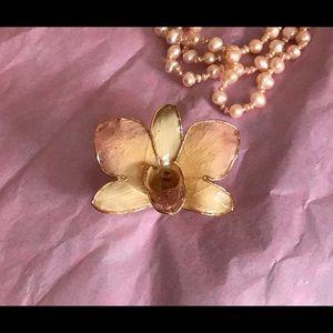 VTG Real Orchid & Gold Brooch/Pendant